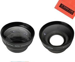 37mm 2.2X Telephoto Lens + 37mm 0.43x Wide Angle Lens with m