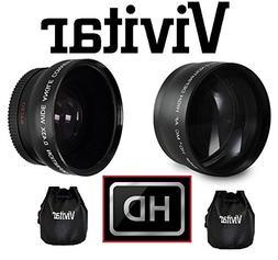 2Pc HD Telephoto & Wide Angle Lens Kit For Sony Alpha A6000