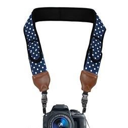 TrueSHOT Camera Strap with Blue Polka Dot Neoprene Pattern a