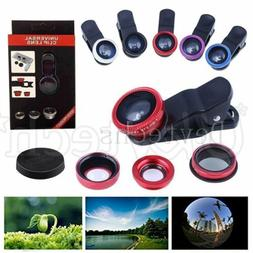 Universal Phone Camera Lens Wide Angle+Fish Eye+Macro Clip-o