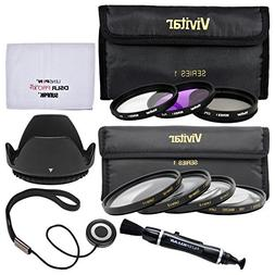 Vivitar 7-Piece  Multi-Coated Glass Filter Set  + Lens Hood