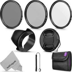 58MM UV / CPL Polarizer / ND4 Filter Kit + Lens Hood for Can