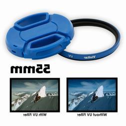 Vivitar 55mm UV Filter and Snap-On Lens Cap - Blue