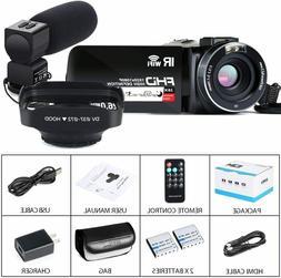 Video Camera Camcorder FHD 26MP,16x Zoom,IR Night,Lens Hood,