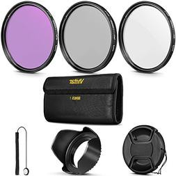 67MM Vivitar UV CPL FLD Filter Kit and Accessory Bundle for