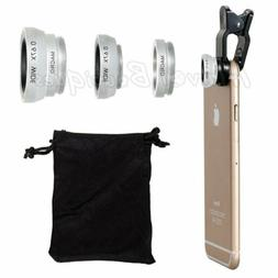 Wide Angle Fish Eye Macro Clip Cell Phone Camera Lens Kit fo